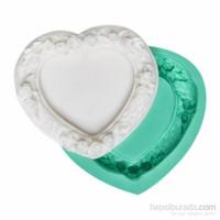 Kurdelya Çiçekli Kalp Minik Çerçeve Silikon Kalıbı