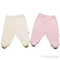 Minidamla 1467 Oyuncaklı 2Li Patikli Bebek Pantolon Pembe-Krem 0 Ay (50-56 Cm)