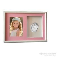 Küçük İzler Beyaz Çerçeveli Resimli, Aljinat ile 3 boyutlu Çocuk El İzi Heykeli Kalıp Seti