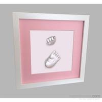 Küçük İzler Beyaz Çerçeveli Aljinat ile 3 boyutlu Bebek El Ve Ayak İzi Heykeli Seti