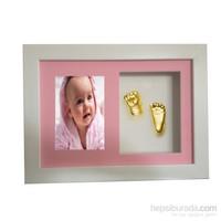 Küçük İzler Beyaz Çerçeveli Resimli 3 boyutlu Bebek El-Ayak İzi Heykeli Seti