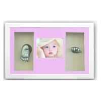 Küçük İzler Beyaz Çerçeveli Resimli 3 Bölmeli, 3 boyutlu Bebek El-Ayak İzi Heykeli Seti