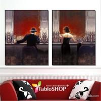 Tabloshop - Cigar Bar Parçalı Kanvas Tablo - 83X55cm