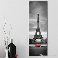 Tabloshop - Eiffel And Red Car Iı Canvas Tablo - 90X30cm