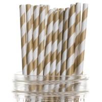 Pandoli 20 Cm Gold Beyaz Çizgili Kağıt Pipet 25 Adet