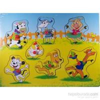 Cc Oyuncak Ahşap 7 Parça Düğmeli Puzzle - Hayvanlar Çiftlikte