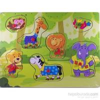 Cc Oyuncak Ahşap 7 Parça Düğmeli Puzzle - Hayvanlar Ormanda