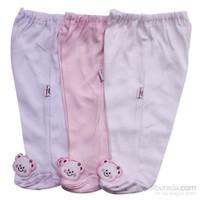 Mini Damla 4005 Patikli Pantolon Pembe-Krem-Beyaz 0-3 Ay (56-62 Cm)