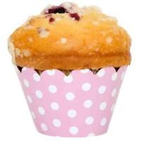 Pandoli Pembe Beyaz Puantiyeli 10'Lu Muffin Kek Tacı
