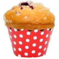 Pandoli Kırmızı Beyaz Puantiyeli 10'Lu Muffin Kek Tacı