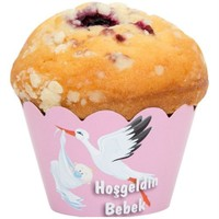 Pandoli Kız Pembe Renk Baby Shower Leylekli Muffin Kek Tacı 0 Lu