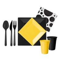 Pandoli 127 Parça Sarı Siyah Renk Plastik 16 Kişilik Parti Sofra Seti