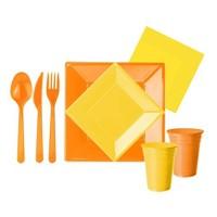 Pandoli 127 Parça Sarı Turuncu Renk Plastik 16 Kişilik Parti Sofra Seti