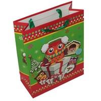 Pandoli Sevimli Baykuş Desenli Karton Noel Poşeti Büyük Boy