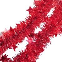 Pandoli Yıldızlı 6 Cm Kırmızı Renk Sim Parti Süsü 2 Metre