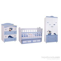 Babyhope Denizci Modüler Bebek Odası Takımı Mavi Beyaz