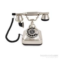 Anna Bell Klasik Çevirmeli Gümüş Telefon