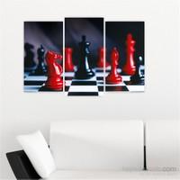 Dekoriza Siyah & Beyaz Satranç 3 Parçalı Kanvas Tablo 80X50cm