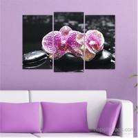 Dekoriza Siyah & Beyaz Çiçek 3 Parçalı Kanvas Tablo 80X50cm
