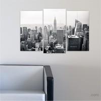 Dekoriza Siyah & Beyaz Şehir Manzarası 3 Parçalı Kanvas Tablo 80X50cm