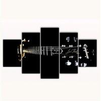 Tictac 5 Parça Kanvas Tablo - Siyah Gitar - 100X60 Cm