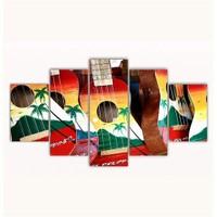 Tictac 5 Parça Kanvas Tablo - Renkli Gitarlar 2 - 125X75 Cm