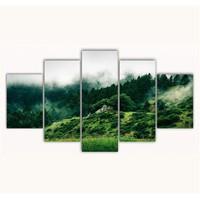 Tictac 5 Parça Kanvas Tablo - Yeşil Orman - 100X60 Cm