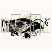 Tictac 5 Parça Kanvas Tablo - Picasso Boğa - 100X60 Cm