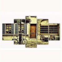 Tictac 5 Parça Kanvas Tablo - Sokaktaki Bisiklet - 100X60 Cm