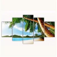 Tictac 5 Parça Kanvas Tablo - Sahildeki Palmiyeler - 100X60 Cm