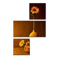 Tictac 3 Parça Kanvas Tablo - Vazodaki Çiçek