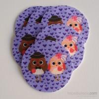 Desenli Keçeler Gelin Damat Baykuş Desenli Keçe Aplike