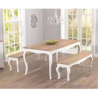 Woodenbend Lyon Eskitilmiş Beyaz Masa 80*175 2 Adet Bench