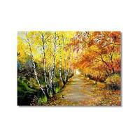 Tictac Sonbaharda Ağaçlar Kanvas Tablo - 40X60 Cm