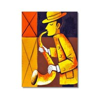 Tictac Dekoratif Müzik Serisi - Saksafon Kanvas Tablo - 60X90 Cm