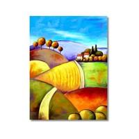 Tictac Renkli Tarlalar Kanvas Tablo - 40X60 Cm