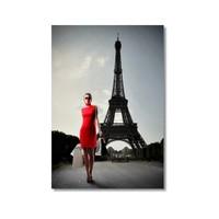 Tictac Eyfel Ve Kırmızılı Kadın Kanvas Tablo - 40X60 Cm