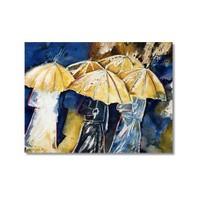 Tictac Şemsiyeli İnsanlar Kanvas Tablo - 50X75 Cm