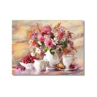 Tictac Vazoda Çiçekler Kanvas Tablo - 60X90 Cm