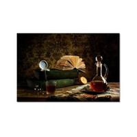 Tictac Masadaki Kitaplar Kanvas Tablo - 40X60 Cm