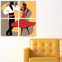 Dekoriza İspanyol Dansı 4 Parçalı Kanvas Tablo 92X92cm