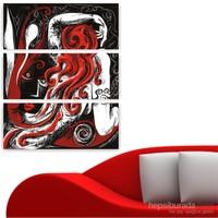 Dekoriza Soyut Kadın Figürü 3 Parçalı Kanvas Tablo 75X95cm
