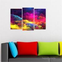 Dekoriza Soyut Renkli Bulutlar 3 Parçalı Kanvas Tablo 80X50cm