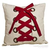 Yastıkminder Koton Beyaz Kırmızı Kuş Gözü Korsajlı Yastık