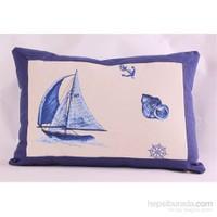 Yastıkminder Koton Kemik Mavi Yelken Desen Yastık