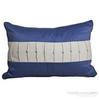 Yastıkminder Koton Mavi Beyaz İp Düğümlü Yastık