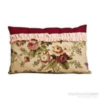 Yastıkminder Lila Fırfırlı Çiçek Desenli Bej Yastık