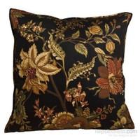 Yastıkminder Koton Siyah Zemin Sarı Çiçekler Dekoratif Yastık