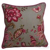 Yastıkminder Koton Füme Zemin Pembe Çiçekler Dekoratif Yastık