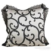 Yastıkminder Saten Siyah Beyaz Dekoratif Dekoratif Yastık